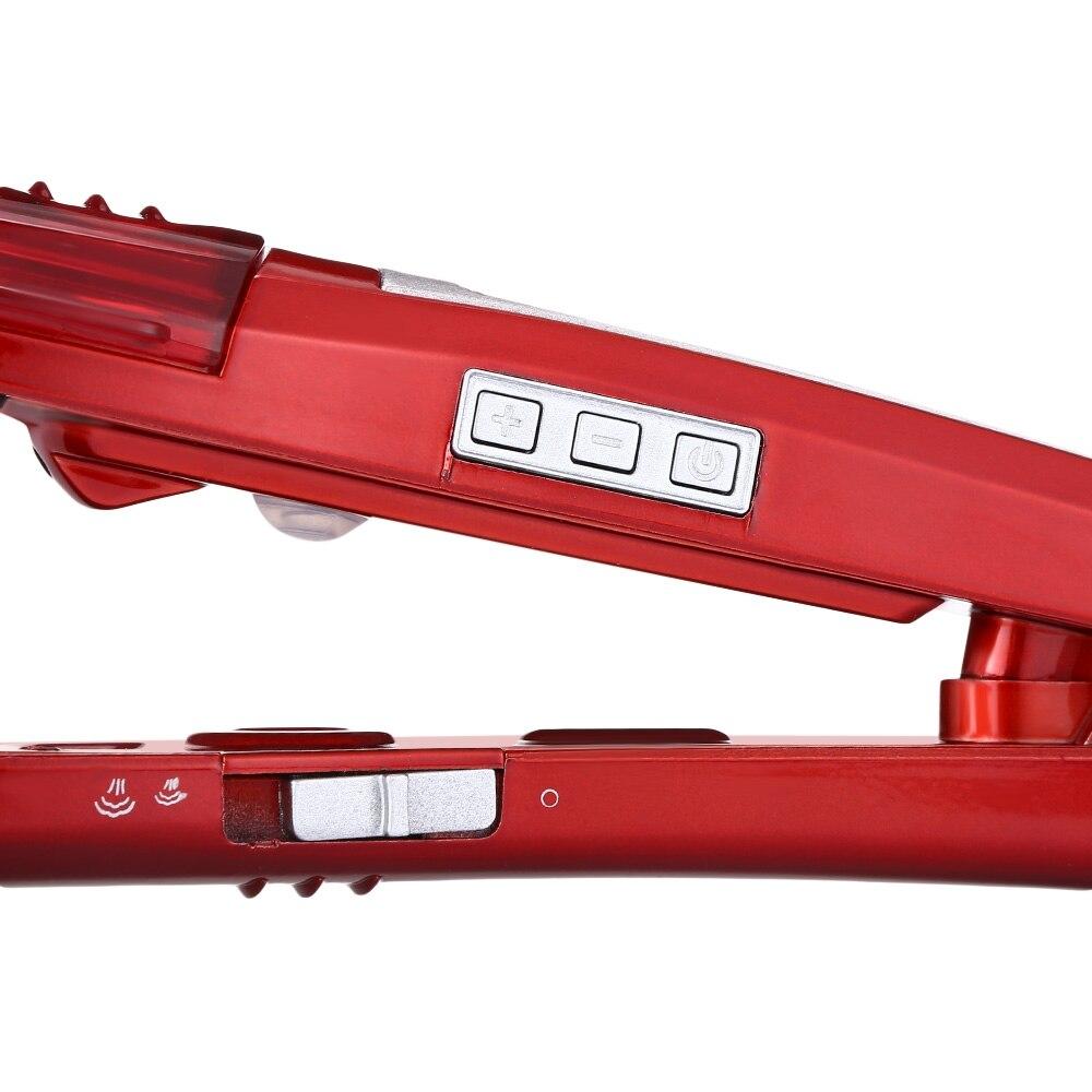 Kemei-3011 Electric Steam Hair Straightener Steam Comb Straightening Hair Irons Straight Hair Temperature Display Styling Tools