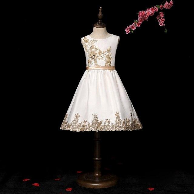 Finove 2019 Lindas Flores Desgaste do Partido Meninas Puro Branco Bordado Beading Bonito Little Princess Dress Para Meninas Adolescentes