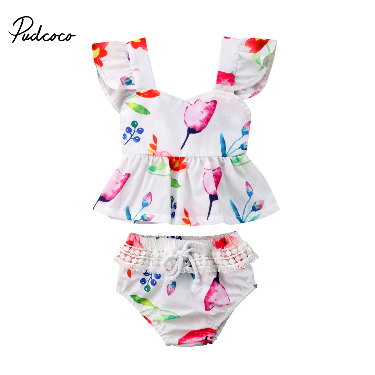 Pudcoco 2pcs Newborn Toddler Baby Girl Summer Clothes Fly Sleeve Floral Top+Short Pants Outfits Set