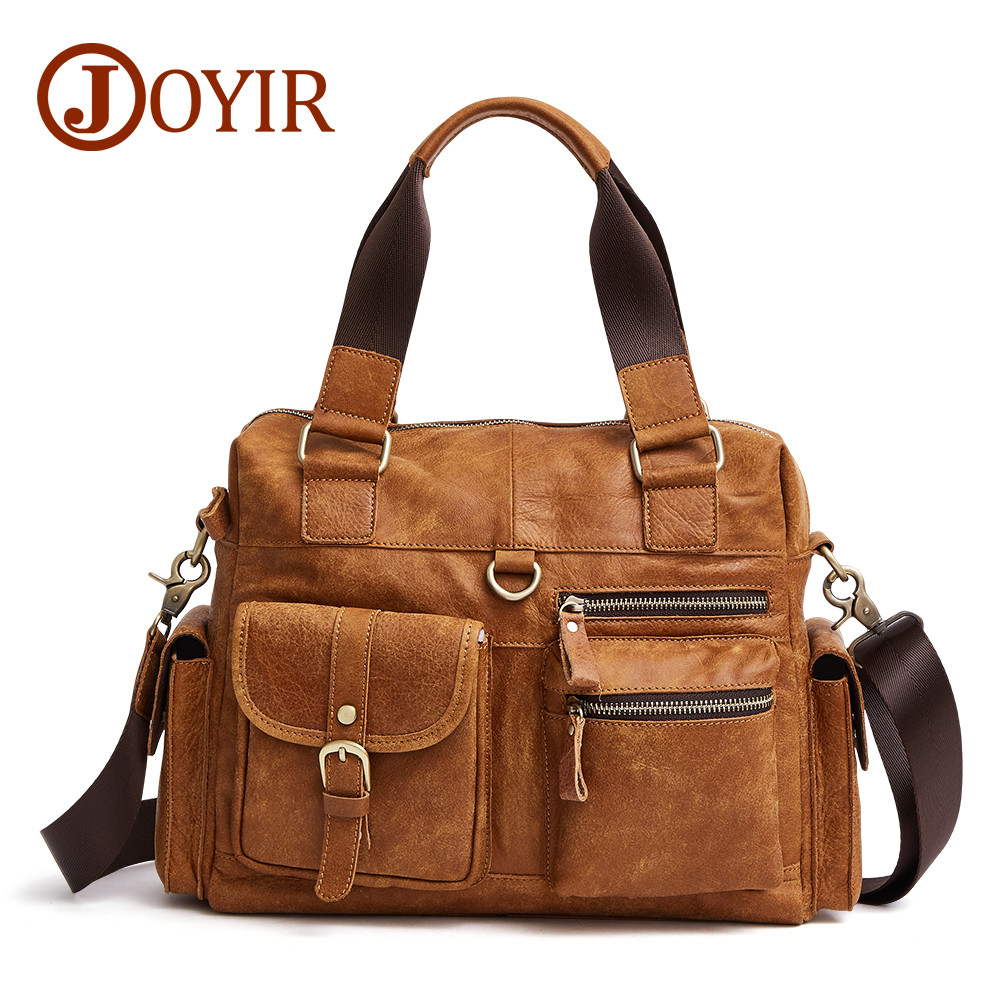 JOYIR Men Bag Genuine Leather male handbag Men's Tote Bag Laptop Briefcases Crossbody Bags Messenger Travel Shoulder Bags купить в Москве 2019