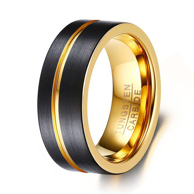 8mm Wide Fashion Men S Tungsten Ring Black And Gold Color Wedding Band Jewelry High Quality