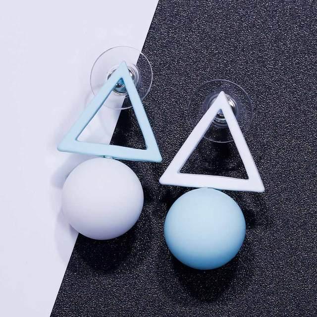 FAMSHIN Triangle Different Candy Color Earrings For Women 2017 Fashion Stud Earrings From Korean Earings Jewelry 3