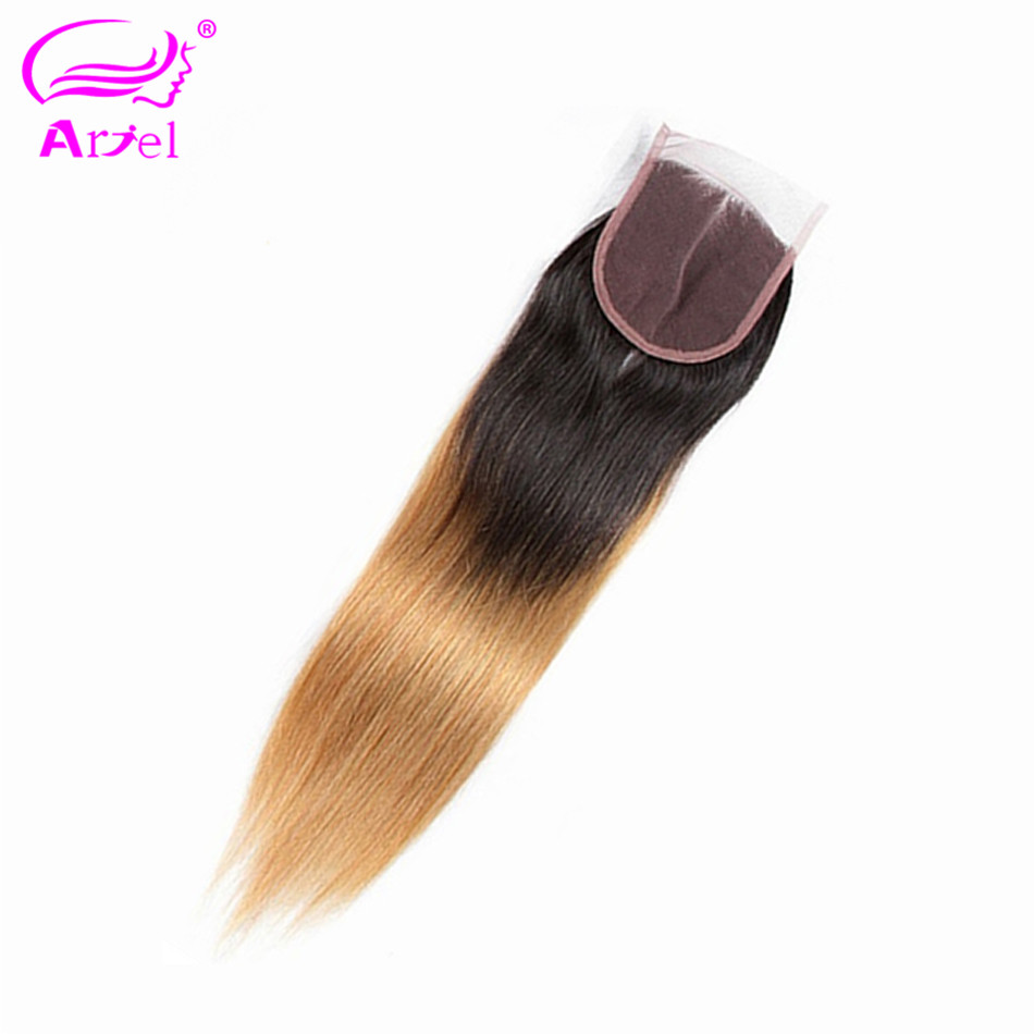 ARIEL Straight Closure Human-Hair Remy Ombre Free/middle/three-part Malaysian 2 1b/27-Blonde