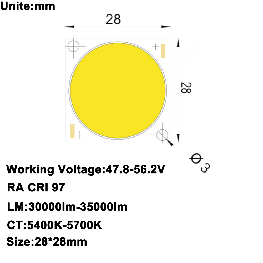 High CRI RA 95+ High Power Density Citizen LED Chip COB LED Daylight 5600K DC47.8-56.2V 5750mA 300W 30000lm-35000lm