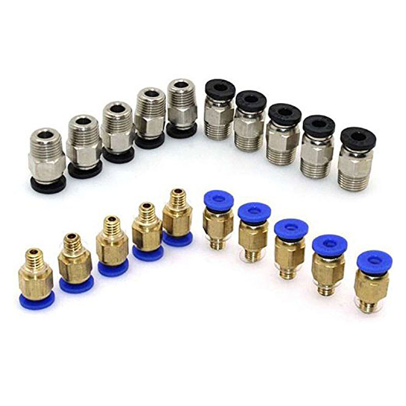 PC4-M10 Straight Pneumatic Fitting Push To Connect + PC4-M6 Quick In Fitting For 3D Printer Bowden Extruder (Pack Of 20pcs)
