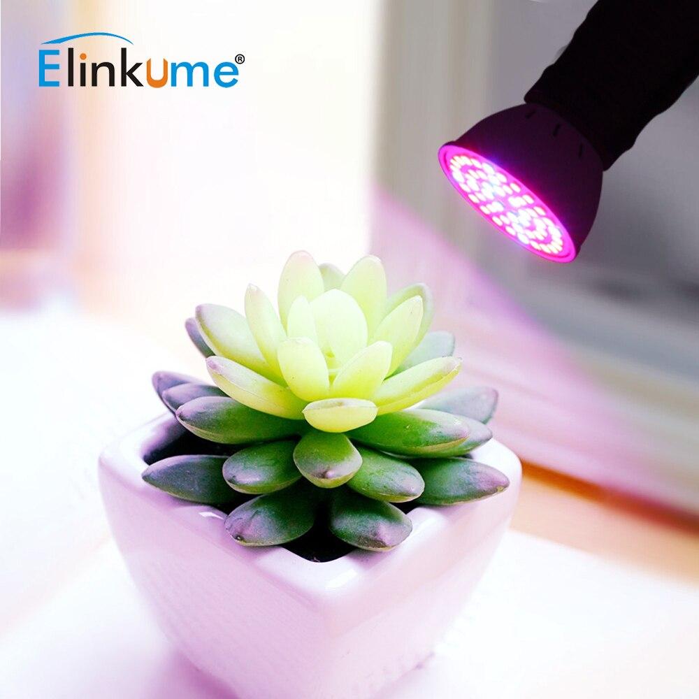 Elinkume Full Spectrum E27 LED Grow Light 220V 230V Faster Growth Spotlight For Flower Plant Hydroponics System Aquarium Light