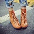 2016 La Manera del Tamaño Grande 34-43 Mujeres Botines de Cuero de LA PU Punta Redonda Zapatos de Mujer con cordones Plana Zapatos de las mujeres Negro Marrón