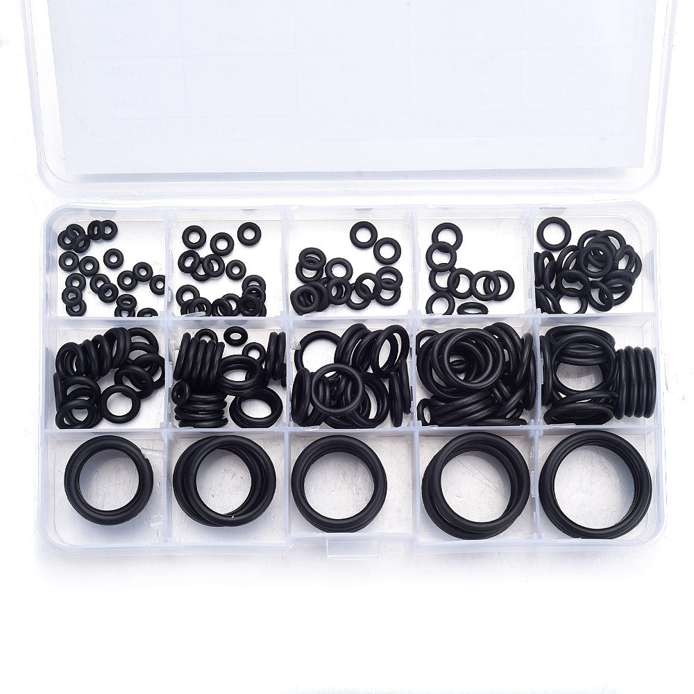 200Pcs 15 Sizes O Ring Rubber O-Ring Washer Seals Watertightness Assortment Kit Mini Round Black ORing Gasket With Plastic Box 39607h c1909a new tab cof module