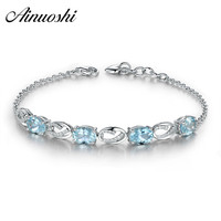 AINUOSHI Oval Sky Blue Topaz Bracelet 925 Sterling Silver Natural Genstone Chain Link Bracelet For Women Romantic Fashion Gift