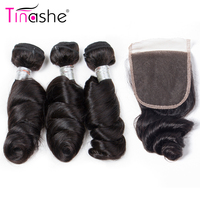 Tinashe Hair Brazilian Loose Wave Bundles With Closure 100 Remy Hair Extensions With Closure Human Hair