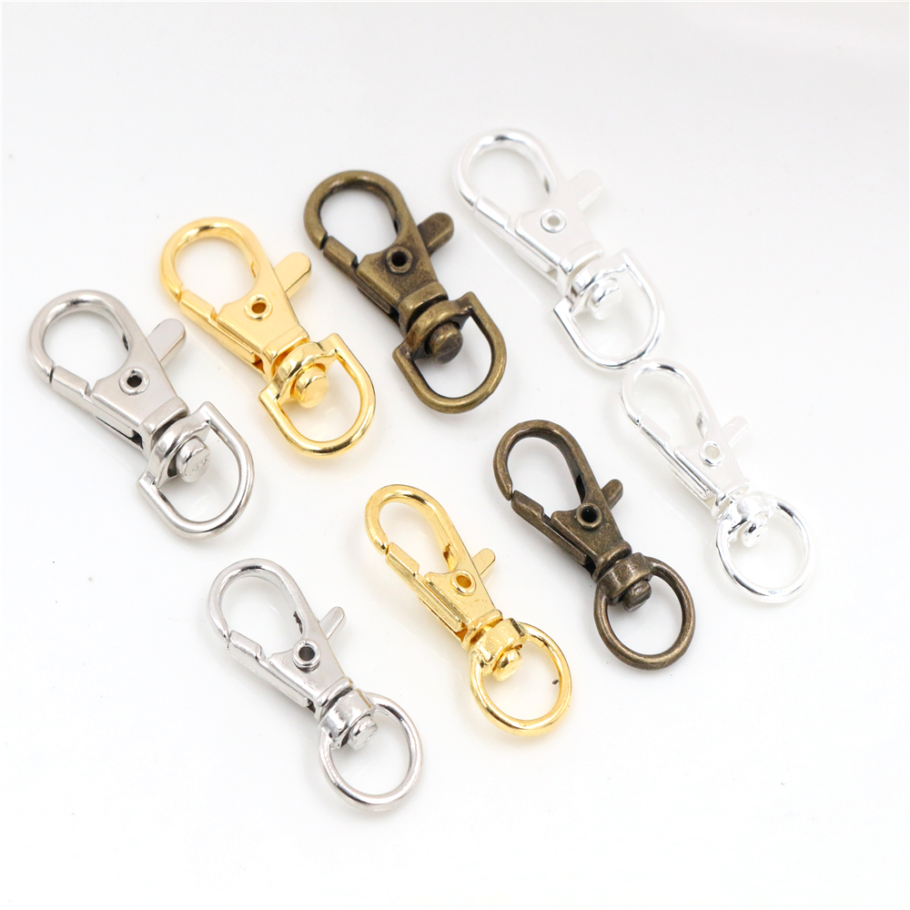 10pcs/lot 32mm And 38mm Bronze Rhodium Gold Silver Plated Jewelry Findings,Lobster Clasp Hooks For Necklace&Bracelet Chain DIY