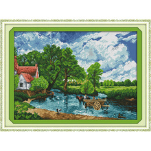 Everlasting love Wading in a river Chinese cross stitch kits Ecological cotton stamped 11 DIY new year gift decorations for home