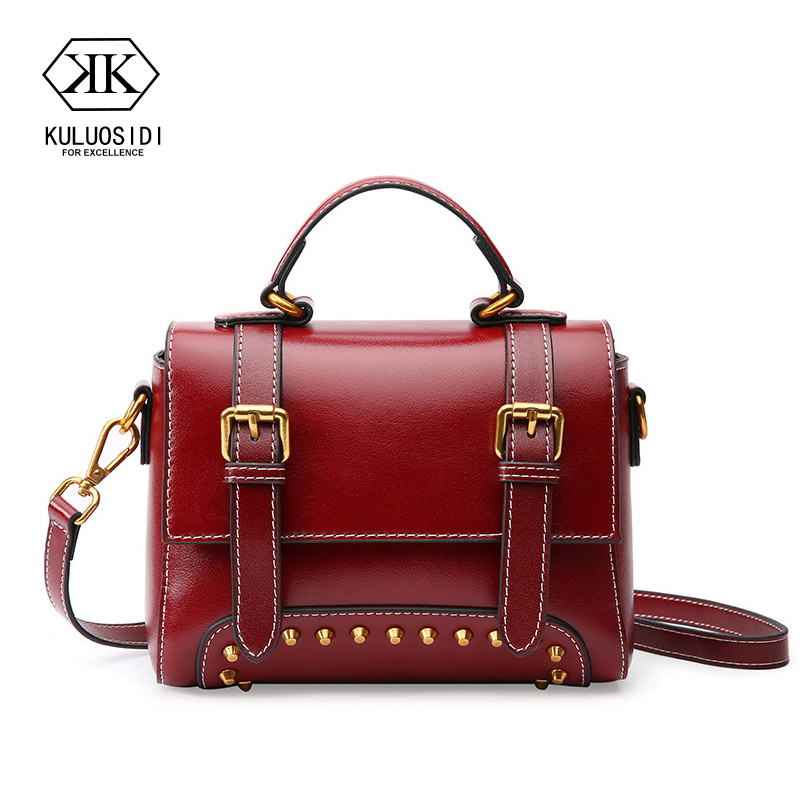 Retro Genuine Leather Women Flap Bag Rivet Messenger Bags Women Cow Leather Crossbody Shoulder Bags For Women 2018 Sac a Main vintage handbags clutch retro women messenger bags panelled box bag rivet crossbody shoulder bags small handbag purse sac a main