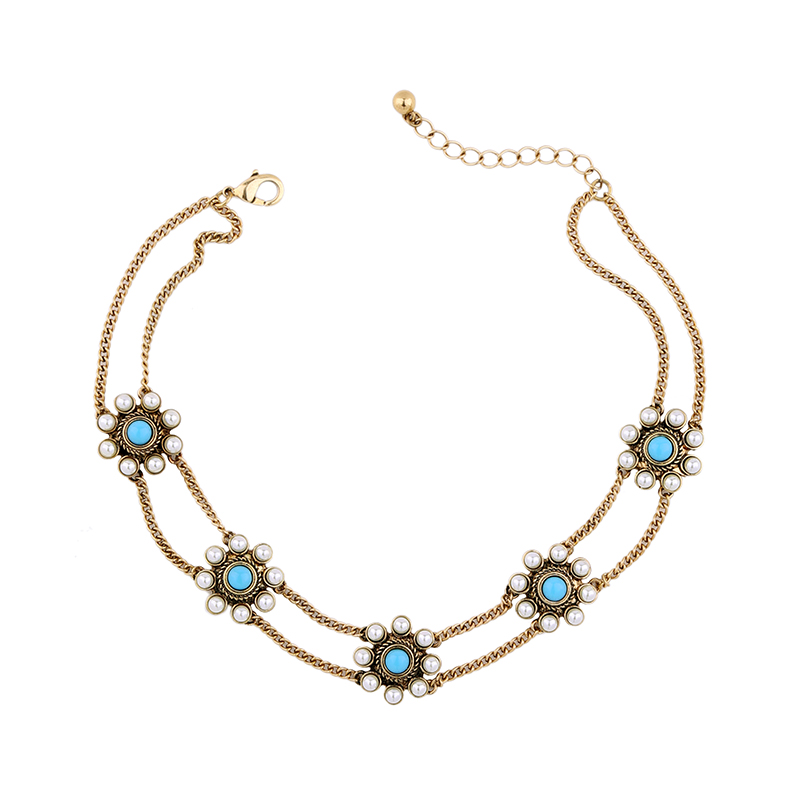 Blue Flower Choker Necklace Imitation Pearl Fashion s