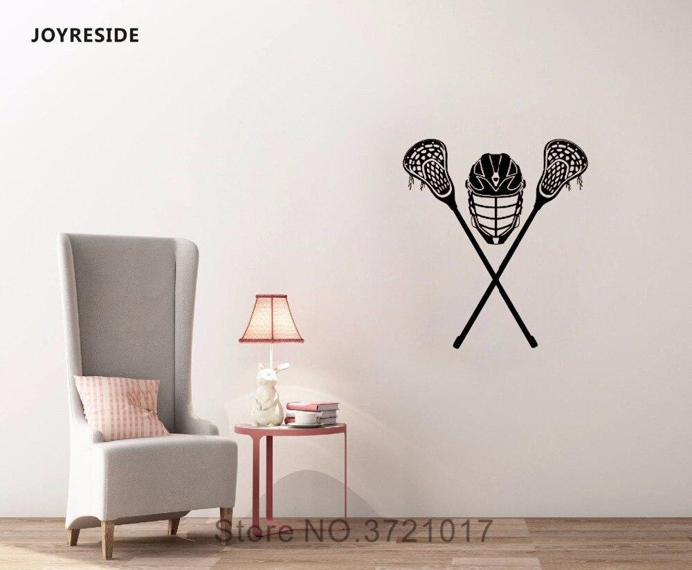 JOYRESIDE Crossed Lacrosse Stick Helmet Wall Decal Vinyl Sticker Sports Sportsman Home Boys Room Decor Playroom Decoration A006