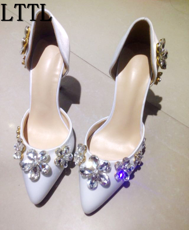 LTTL Spring Summer Socialite Stiletto Heel Pink Satin Flower Rhinestone Pointed High-heeled Shoes Women Wedding Party Shoes wholesale lttl new spring summer high heels shoes stiletto heel flock pointed toe sandals fashion ankle straps women party shoes