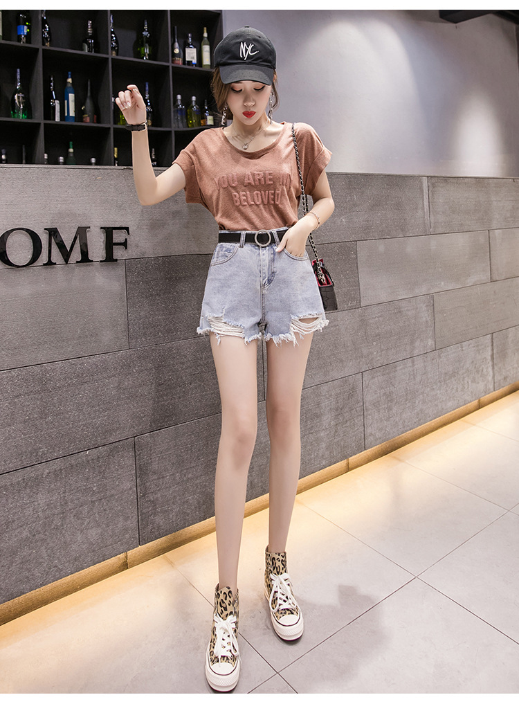 2019 Spring/summer New Korean High-waisted Fringed Shorts Show Skinny Hot Pants Ripped Wide-leg Women Lady Jeans