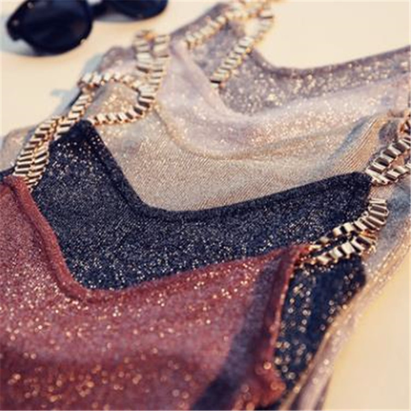 Jeseca Women Glitter   Tank     Tops   Sexy Female V-Neck Knitted Camisole Sleeveless Bling   Tops   Club Party Bodycon Vest Girls Spaghetti