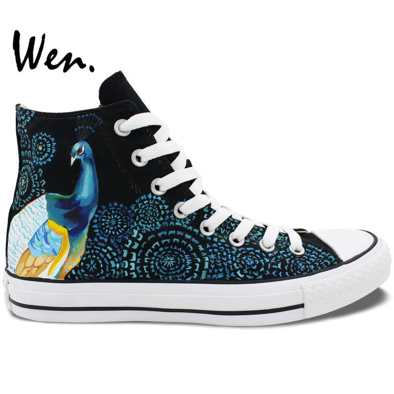 ФОТО Wen Original Hand Painted Shoes Design Custom Peacock Feather Men Women's High Top Canvas Sneakers Birthday Gifts