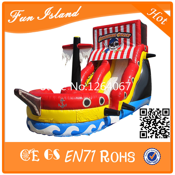 7m Red Pirate Ship Inflatable Slide, Inflatable Bounce Playground, Inflatable Pirate Ship Free Shipping new inflatable slide wave slide slide ocean hx 886