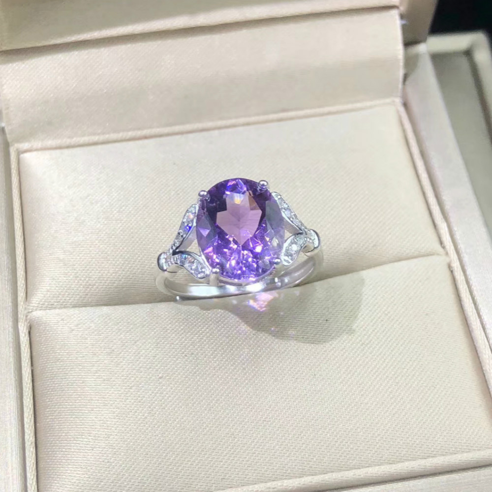 Genuine Amethyst Purple Stone Rings Real Pure 925 Sterling Silver Antique Female Designs Oval Ring Engagement Jewelry Rings