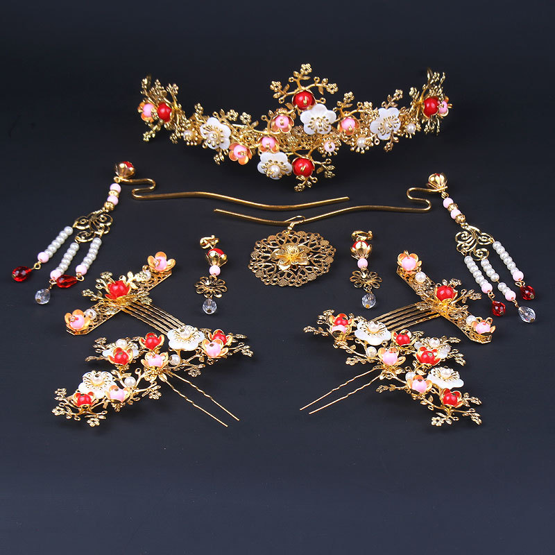chinese red hairpins combs coronet Bride's ancient headdress styling set hair clasp wedding hair accessories costume ancient chinese princess or empress cap hair accessory bride wedding hair tiaras hair coronet