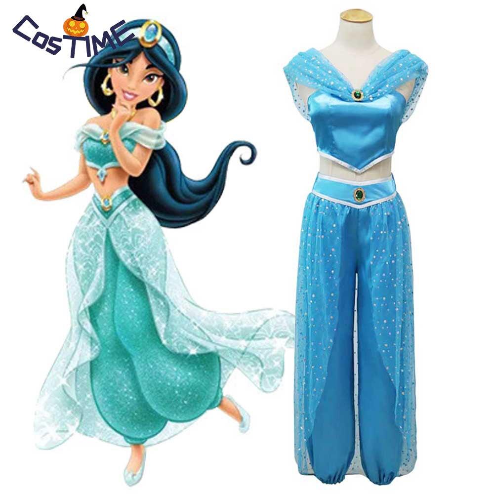 Deluxe Jasmine Costume For Woman Teen Girls Alibaba Jasmine Cosplay Sparkling Arabian Princess Fancy Dress Halloween Costumes Принцесса Жасмин