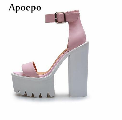 Apoepo 2018 Summer Platform Sandal Sexy Open Toe Woman Thick Heels Sandal Ankle Strap Leather Gladiator Shoe apoepo fashion patent leather wedge sandal for woman super high ankle strap platform shoes rope braided buckle strap summer shoe