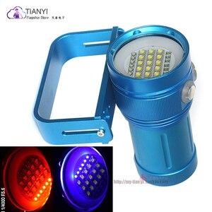 Image 5 - المهنية مصباح غوص 15 XML2 + 6 أحمر + 6 UV LED التصوير فيديو الغوص مصباح يدوي تحت الماء 100 متر الغوص الفيديو الضوئي