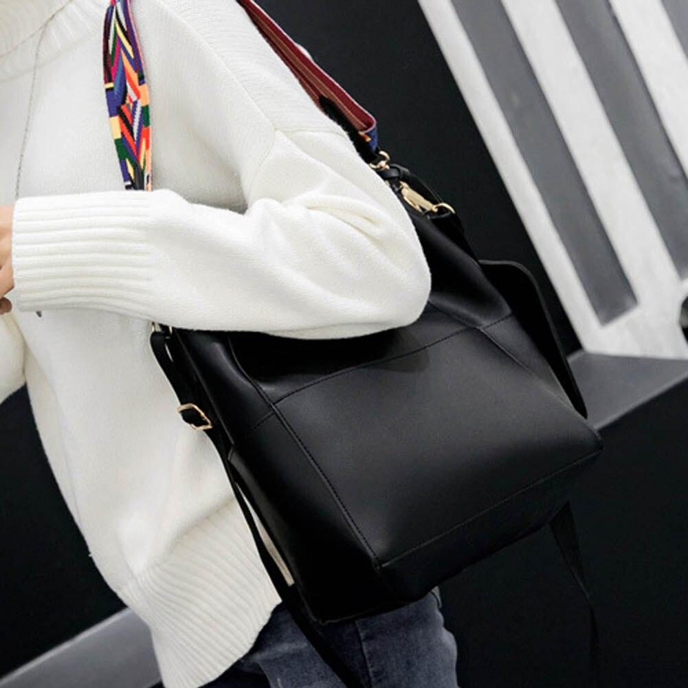 Color 4 Bag Women Large Capacity Brand Designer Bucket Leather Wide Strap Shoulder Bag Handbag Crossbody Bag