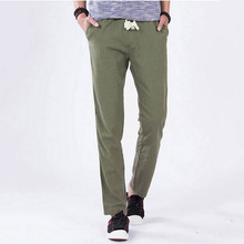 2014 spring and summer linen pants straight trousers casual linen pants with elastic hemp linen trousers