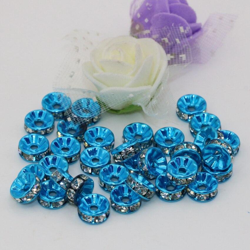 9a3463d482fd Alto grado 6 8 10 12mm 30 unids azul Ábaco rondelle granos de los  espaciadores del rhinestone accesorios moda joyería b2814