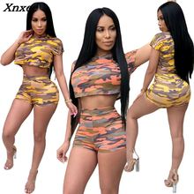 New hot 2018 casual sexy two piece set summer outfits tracksuit women camouflage print short pants ensemble femme dos piezas