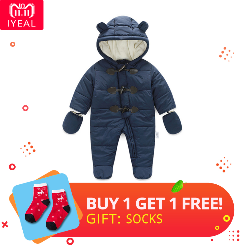 IYEAL Winter Children Baby Clothes Boys Girls Rompers Warm Thickening Hooded Infant Overalls for Newborn Clothing Kid Outwear iyeal newborn baby rompers winter warm girls clothing coral fleece boy clothes cartoon cat hooded outwear infant jumpsuits 0 12m