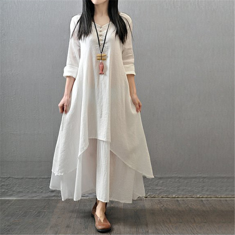 Plus Size 5XL 2018 Spring New Long Sleeve O-Neck Long Dress Fashion Loose Cotton Linen Maxi Dresses