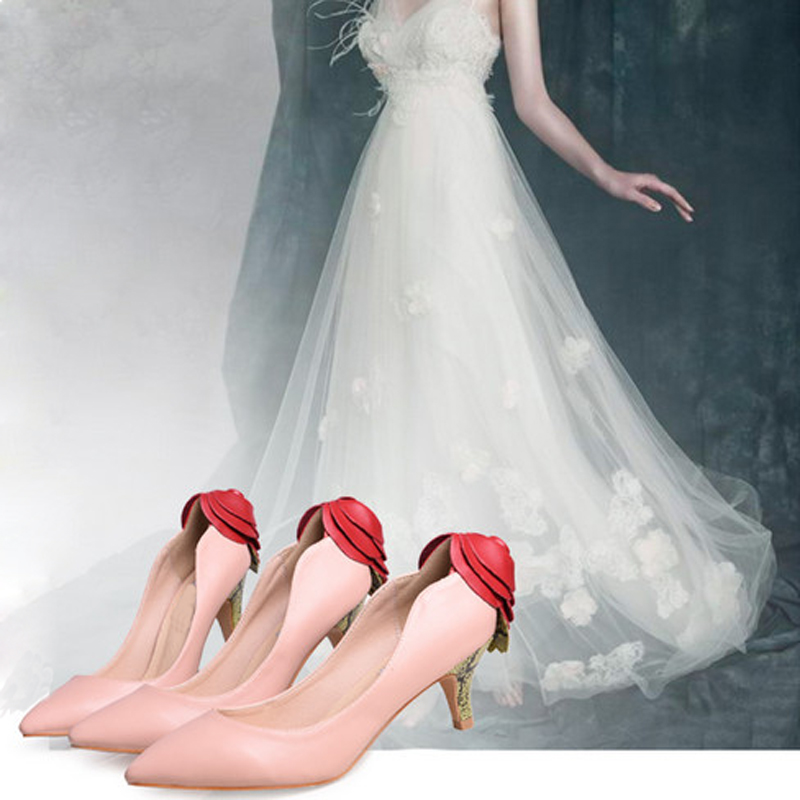 ФОТО HOT 2016 new women pumps back heel with big rose decor pointed toe pumps sexy high heels leather wedding shoes plus size 33-43