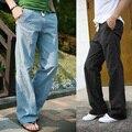 Primavera Y Verano Hombres Pantalones de Lino Pantalones Sueltos de Playa Casual Swag Ropa Pantalones Con Cordón Pantalones Largos Rectos