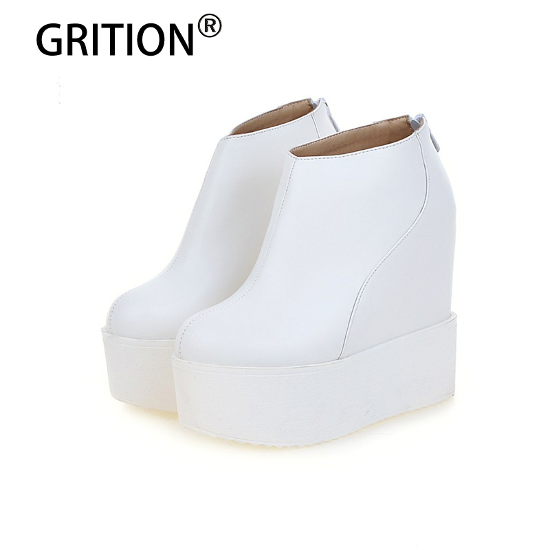GRITION Winter Warm Short Plush Platform Increasings Super High Women Ankle Boots Fashionable Women Shoes Free Shipping