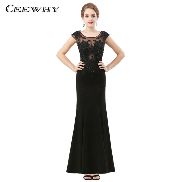CEEWHY Cap Sleeve Black Evening Dress Elegant Abiye Elbise Robe de Soiree  Longue 2018 Embroidery Evening Gown Mermaid Dress 0a05159b6157