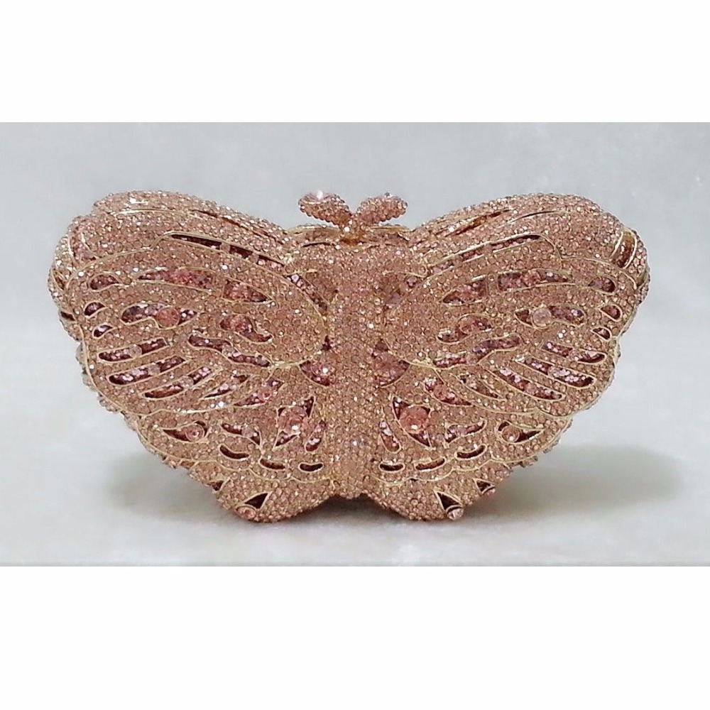 ФОТО Butterfly PEACH Crystal lady fashion Bridal Party hollow Metal Evening purse clutch bag case box handbag