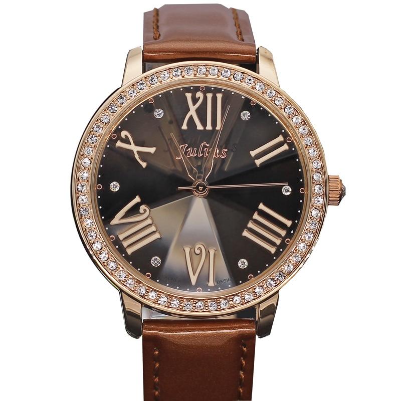 Diamond Cut Julius Lady Women s Watch Japan Quartz Hours Clock Fashion Dress Bracelet Large Leather