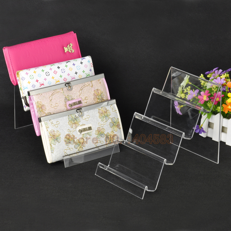 5 pcs lot 4 Layer Clear view Long Wallet Display Stand Holder Rack Cosmetic Digital Product