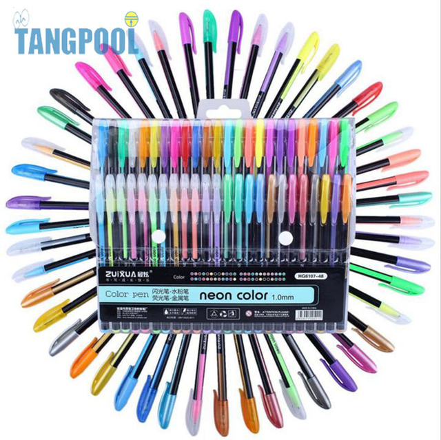 Color Gel Pens,TANGPOOL 48 Colored Pens Individual Colors for ...