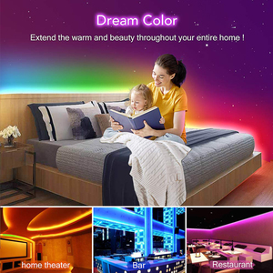 Image 2 - Commande musicale, 5 20m, LED bandes lumineuses couleur de rêve, WS2811, LED bandes RGB, 5050, SP106E, télécommande RF, avec adaptateur 12V pour fête