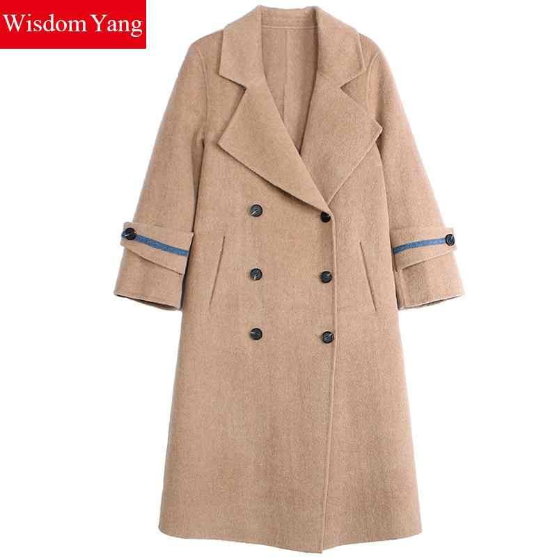 Abrigo de invierno Camel manga larga Mujer 70% lana de oveja 8% Alpaca Cashmere abrigos de oficina elegante gabardina abrigos de lana