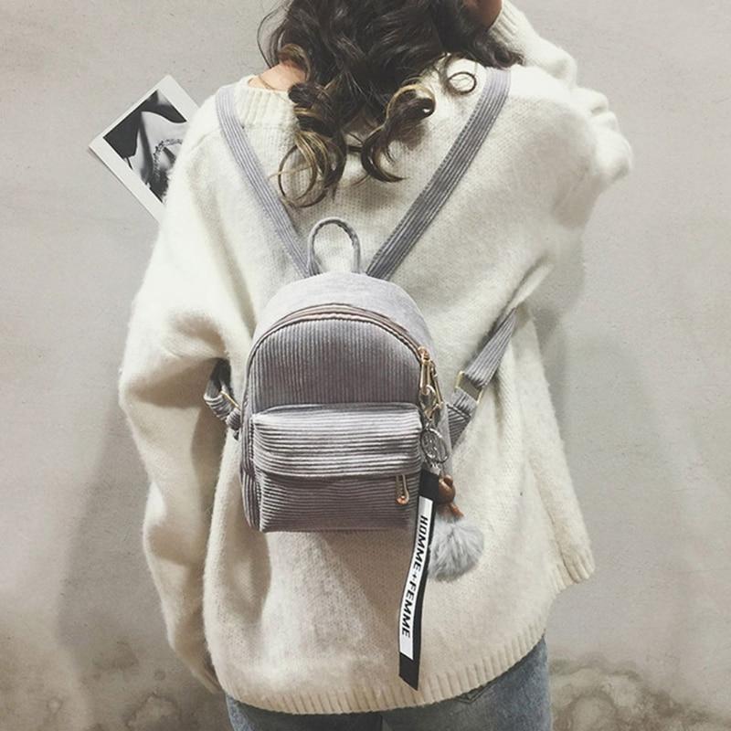 THINKTHENDO Women Corduroy Mini Backpack Girls School Bags Small Travel Bag Shoulder Bag corduroy goes to school
