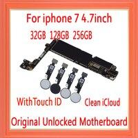 32 gb/128 gb/256 gb para o iphone 7 placa-mãe com desbloqueado completo  100% original para o iphone 7 mainboard com id do toque  icloud livre