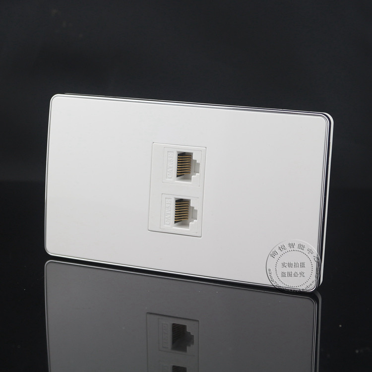 120MM Wall Socket Plate 2 Ports Dual Network LAN RJ45 Cat5e Outlet Panel Faceplate Home Adapter Plug wall socket 4 ports single port network lan cat6 rj45