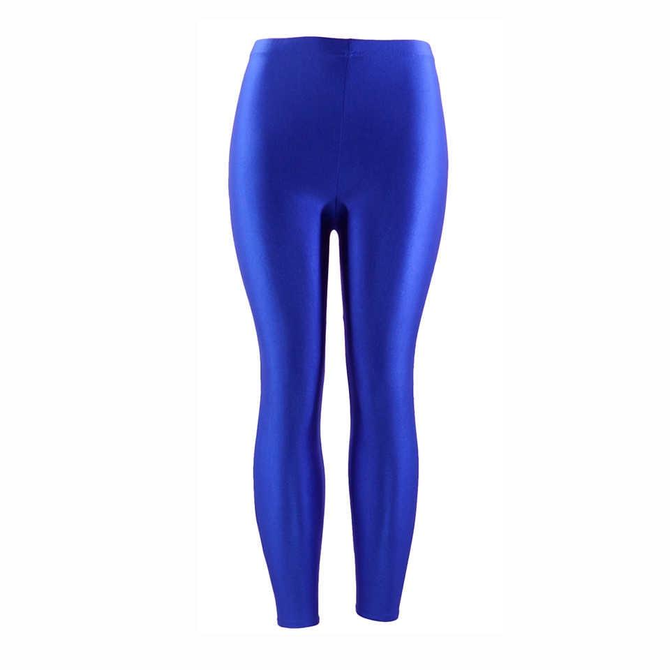 21 kolorów Plus rozmiar kolor odblaskowy kobiety legginsy legginsy elastyczne elastan Multicolor błyszczące błyszczące legginsy spodnie dla dziewczynki