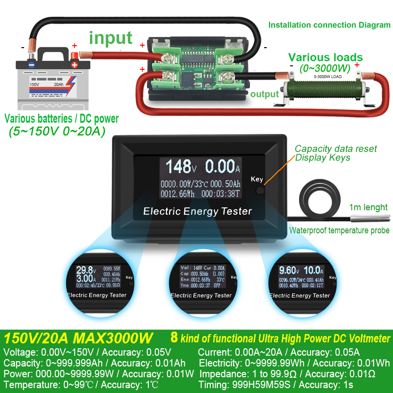 ATORCH DC Current Meters digital voltmeter ammeter voltage amperimetro wattmeter volt capacity tester indicator lcd monitor